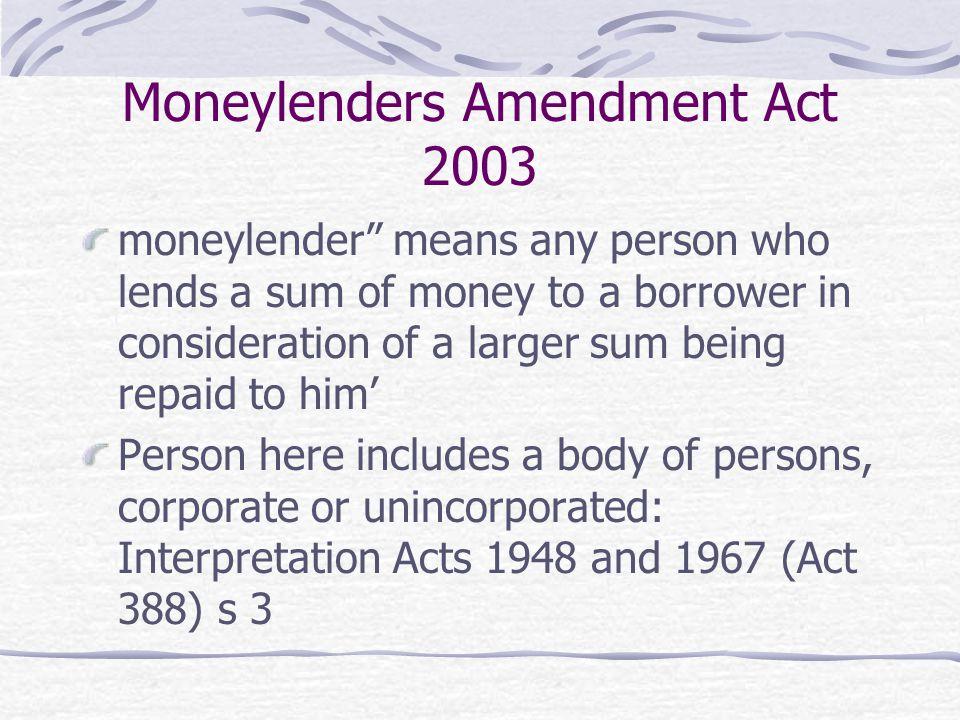Moneylenders Amendment Act 2003