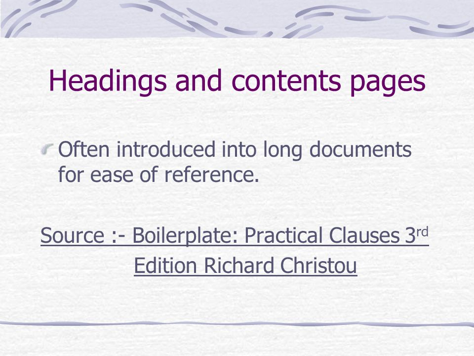 Headings and contents pages