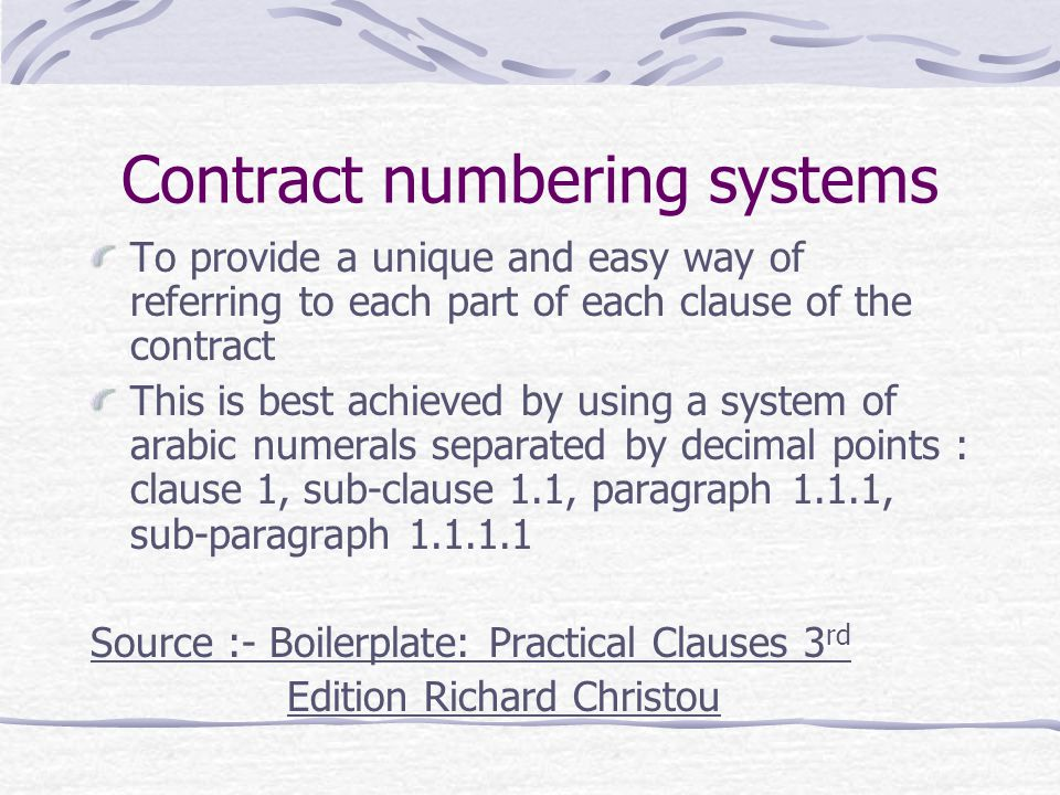 Contract numbering systems