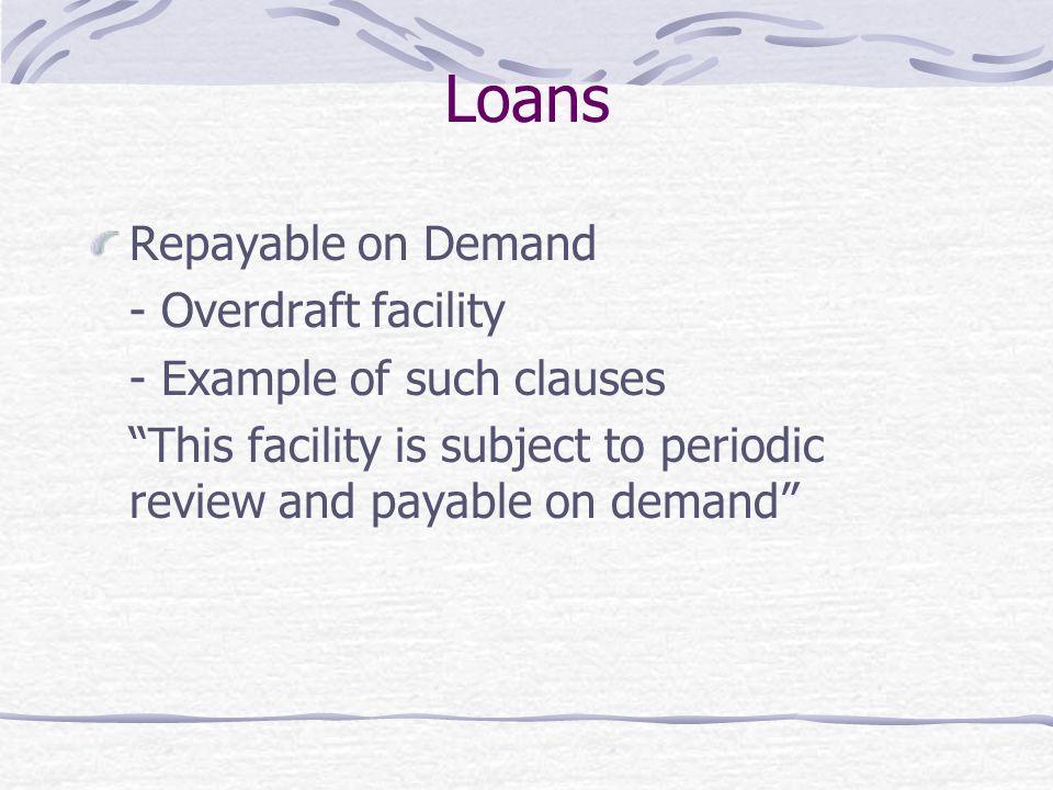 Loans Repayable on Demand - Overdraft facility
