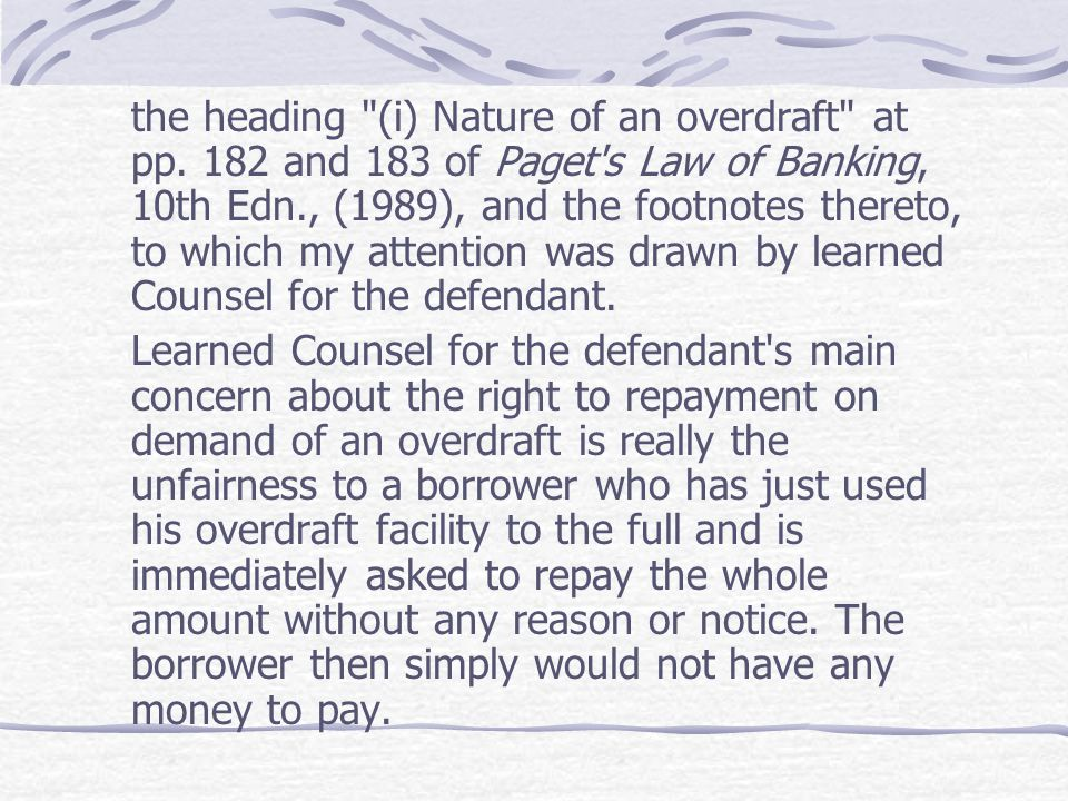the heading (i) Nature of an overdraft at pp
