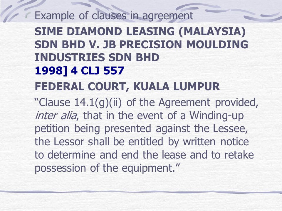Example of clauses in agreement
