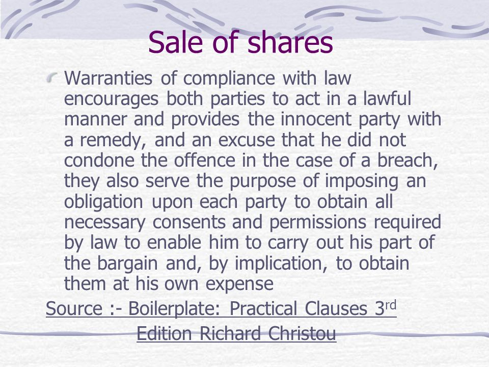 Sale of shares