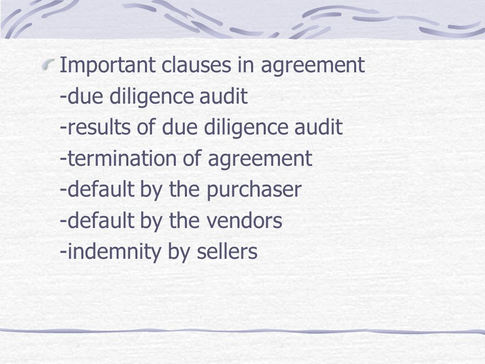 Important clauses in agreement