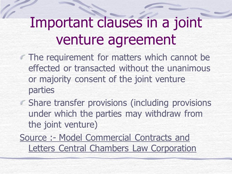 Important clauses in a joint venture agreement