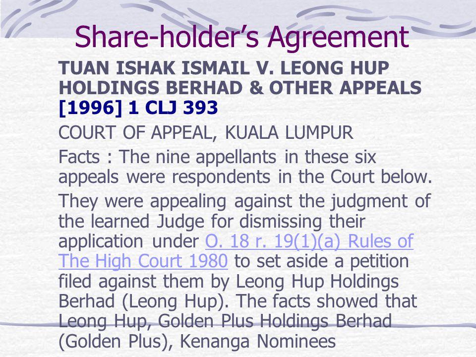 Share-holder's Agreement