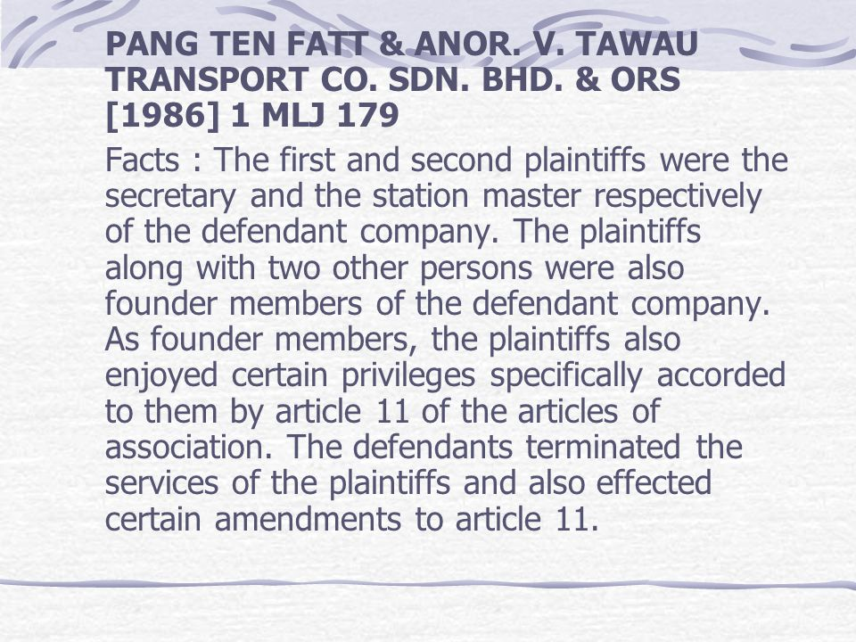 PANG TEN FATT & ANOR. V. TAWAU TRANSPORT CO. SDN. BHD