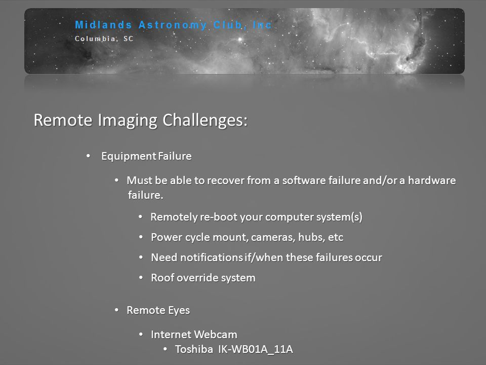 Remote Imaging Challenges: