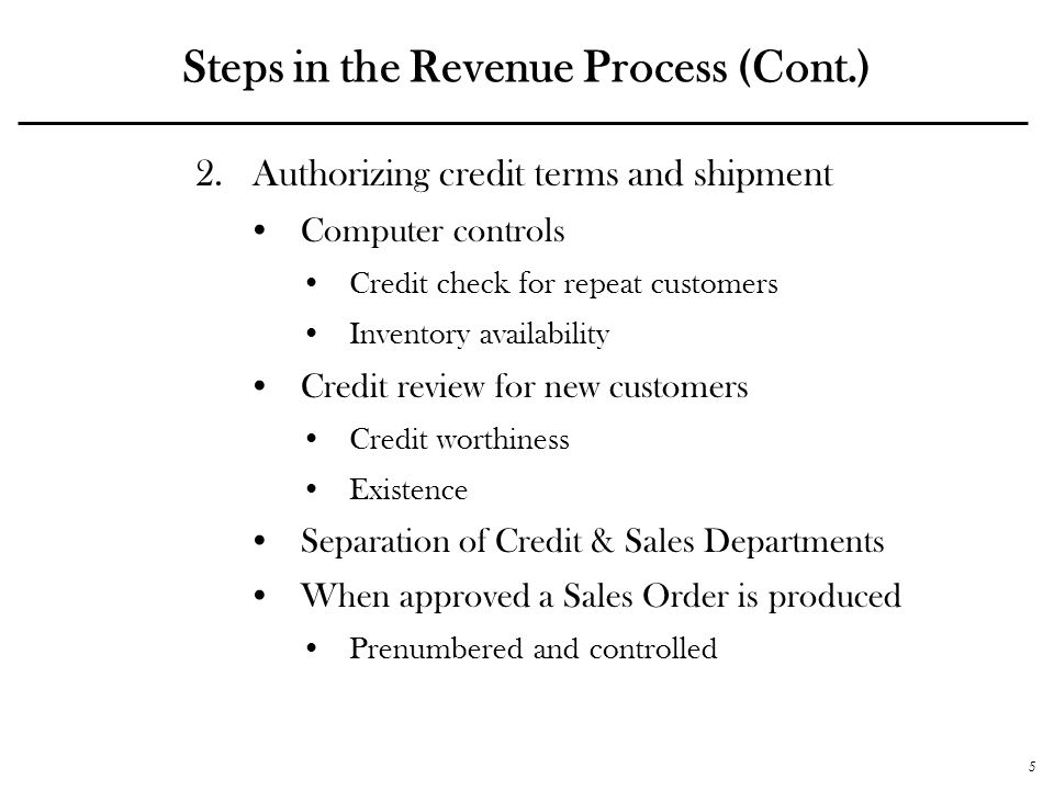 Steps in the Revenue Process (Cont.)
