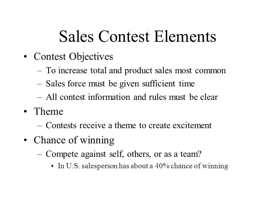 Sales Contest Elements