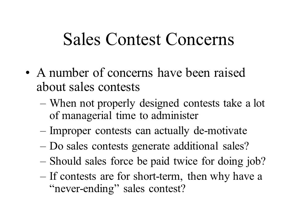 Sales Contest Concerns