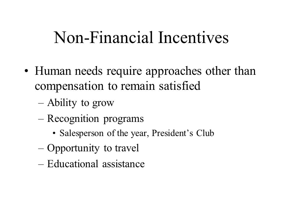 Non-Financial Incentives