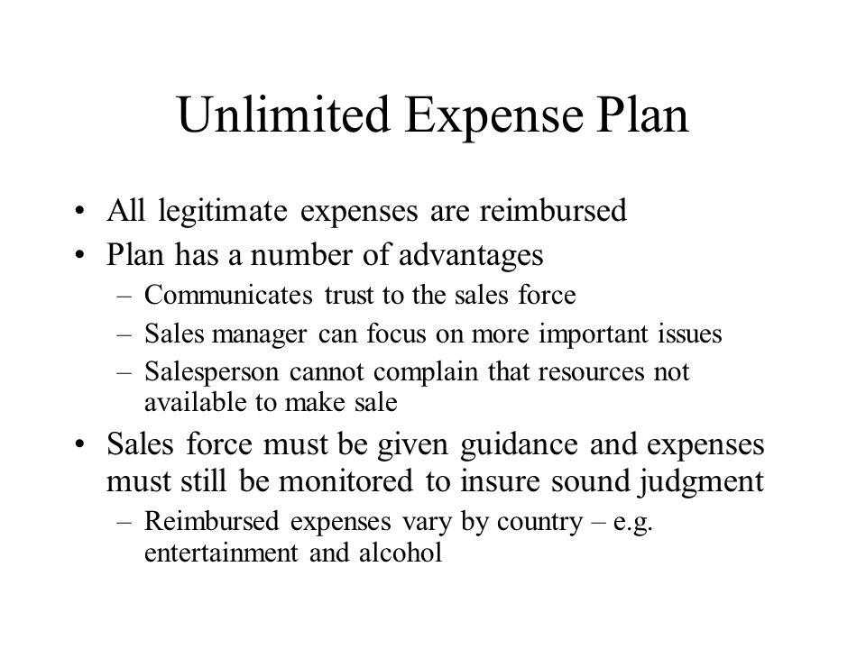 Unlimited Expense Plan