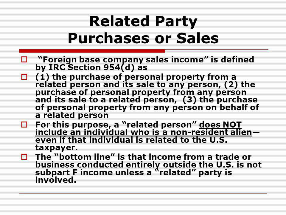 Related Party Purchases or Sales