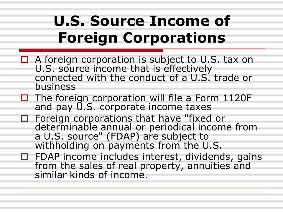 U.S. Source Income of Foreign Corporations