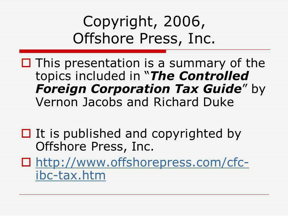 Copyright, 2006, Offshore Press, Inc.