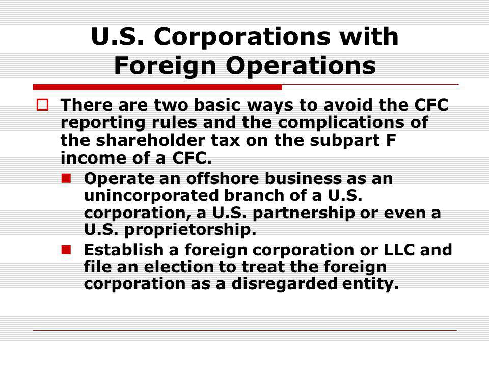 U.S. Corporations with Foreign Operations
