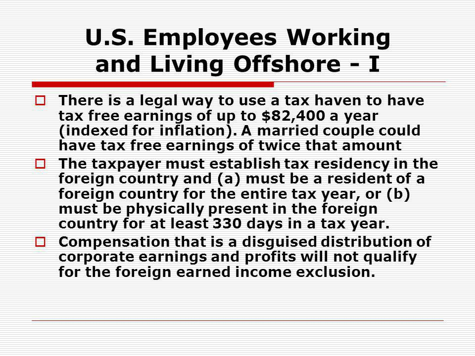 U.S. Employees Working and Living Offshore - I