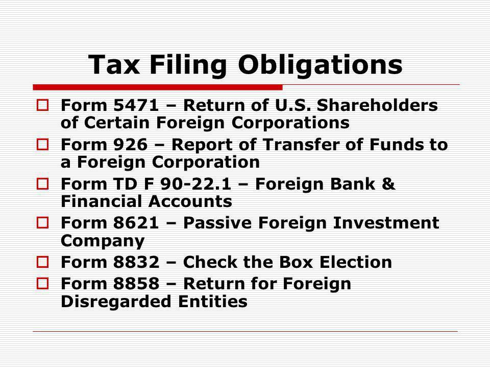 Tax Filing Obligations