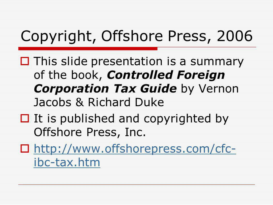 Copyright, Offshore Press, 2006