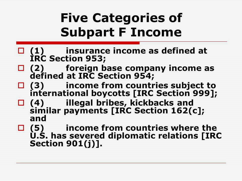 Five Categories of Subpart F Income