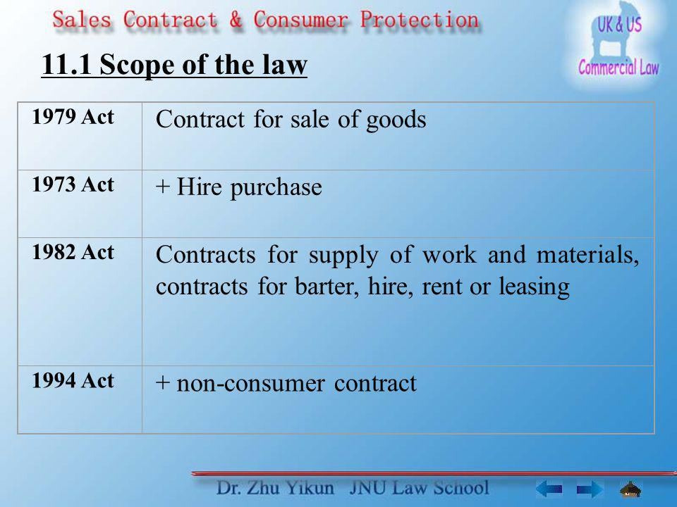 11.1 Scope of the law Contract for sale of goods + Hire purchase