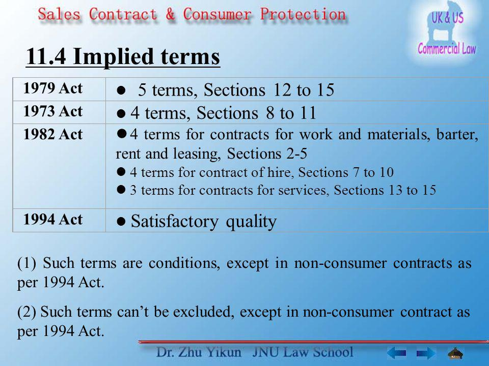11.4 Implied terms 1979 Act 1973 Act 1982 Act