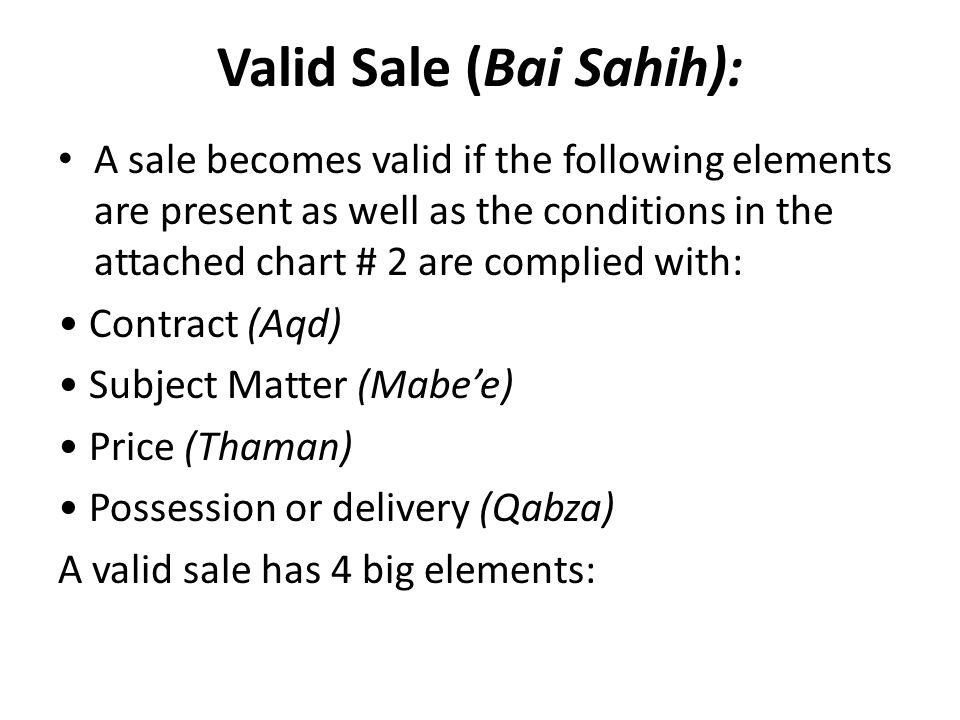 Valid Sale (Bai Sahih):