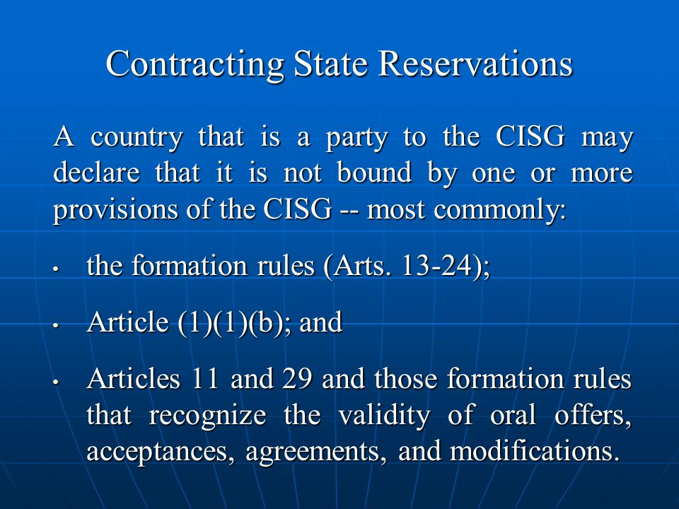 Contracting State Reservations