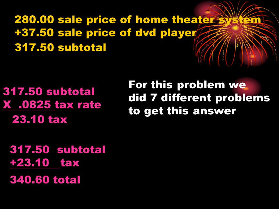 280.00 sale price of home theater system