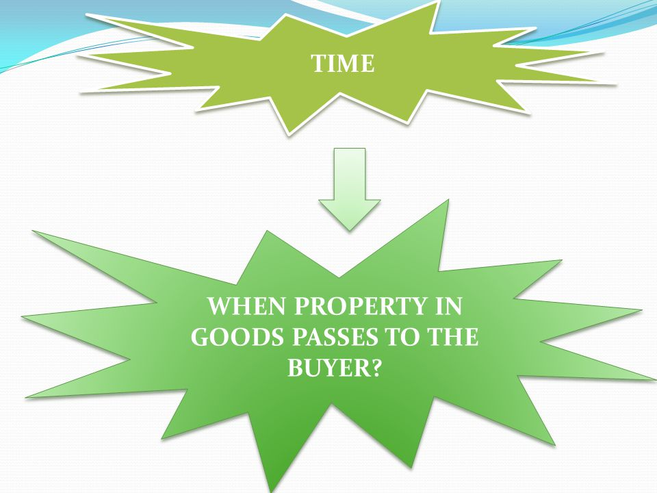 WHEN PROPERTY IN GOODS PASSES TO THE BUYER