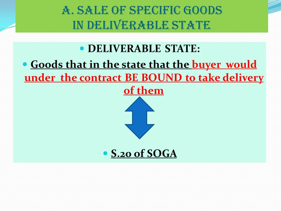 a. SALE OF SPECIFIC GOODS IN DELIVERABLE STATE