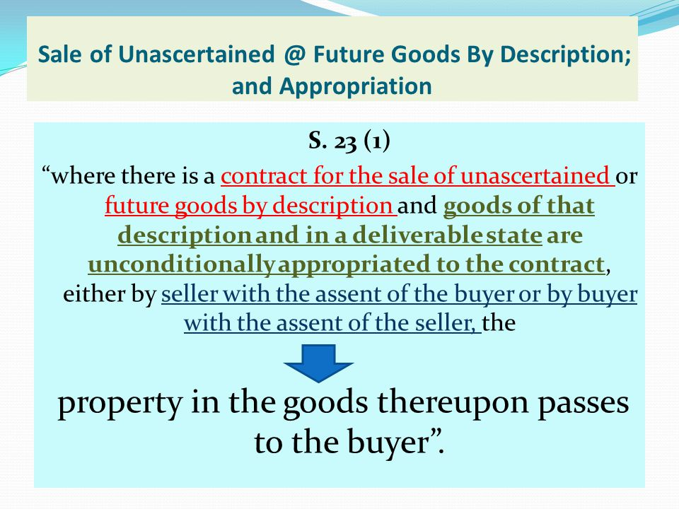 Sale of Unascertained @ Future Goods By Description; and Appropriation