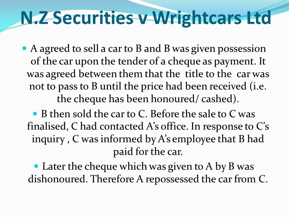 N.Z Securities v Wrightcars Ltd
