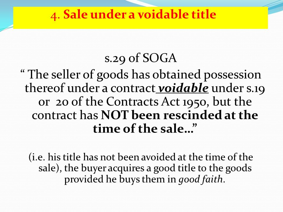 4. Sale under a voidable title