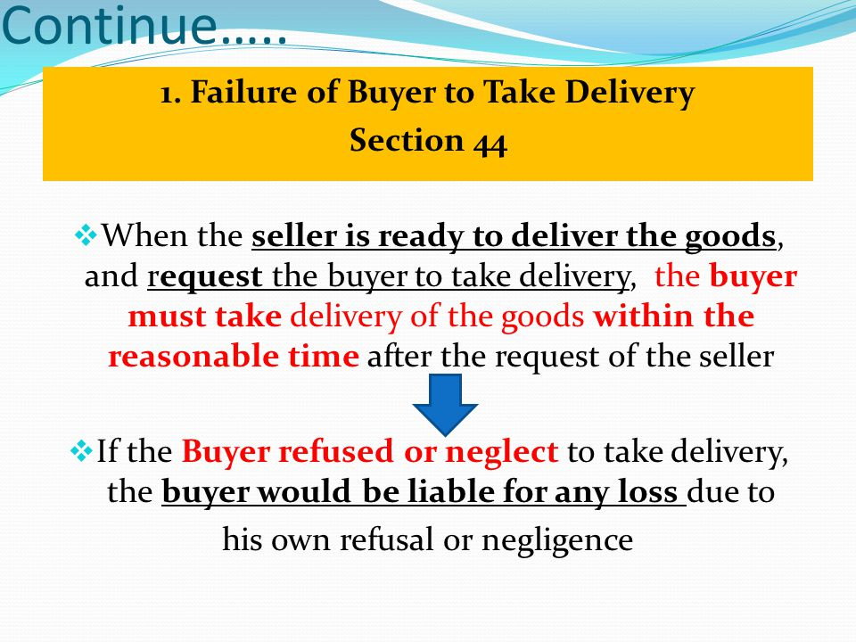 1. Failure of Buyer to Take Delivery