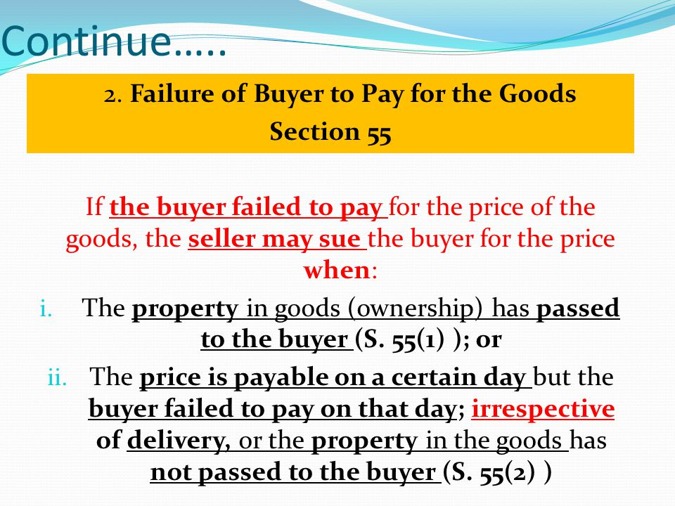2. Failure of Buyer to Pay for the Goods