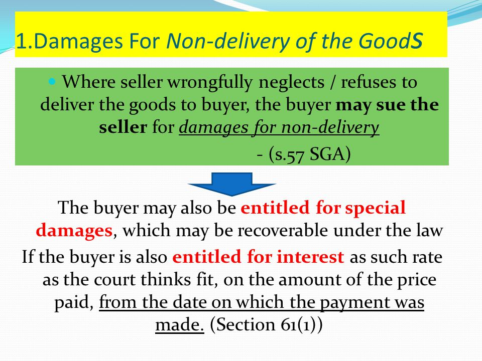 1.Damages For Non-delivery of the Goods