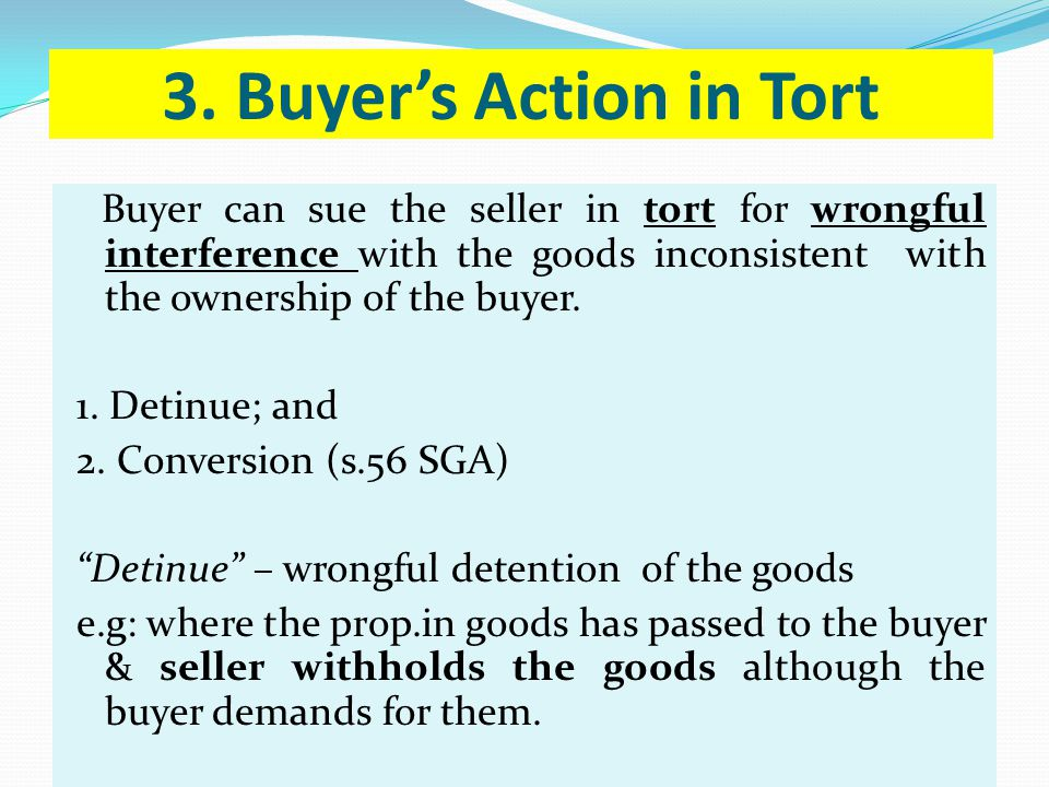 3. Buyer's Action in Tort