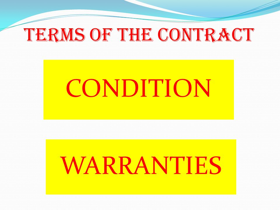 TERMS OF THE CONTRACT CONDITION WARRANTIES