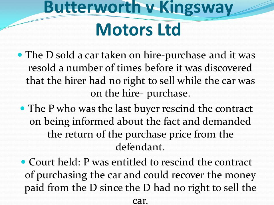 Butterworth v Kingsway Motors Ltd