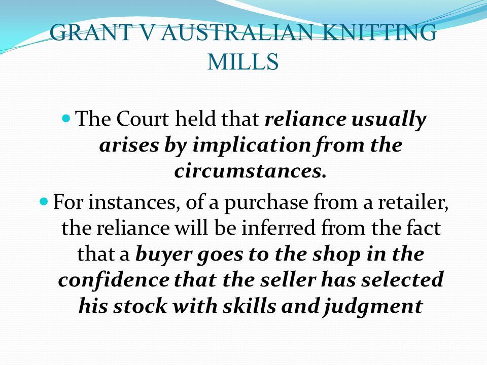 GRANT V AUSTRALIAN KNITTING MILLS