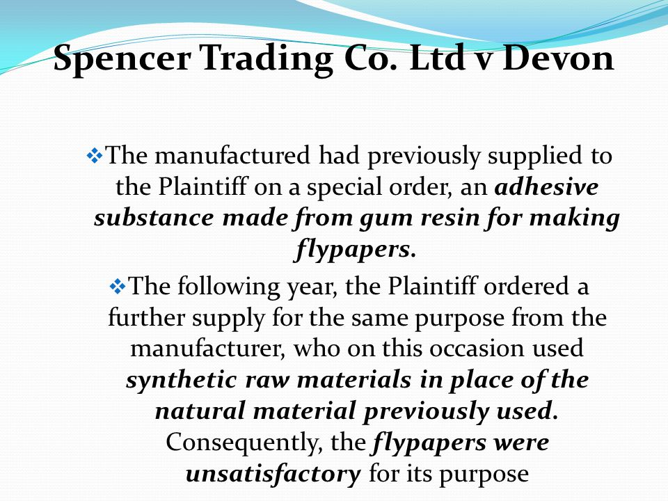 Spencer Trading Co. Ltd v Devon