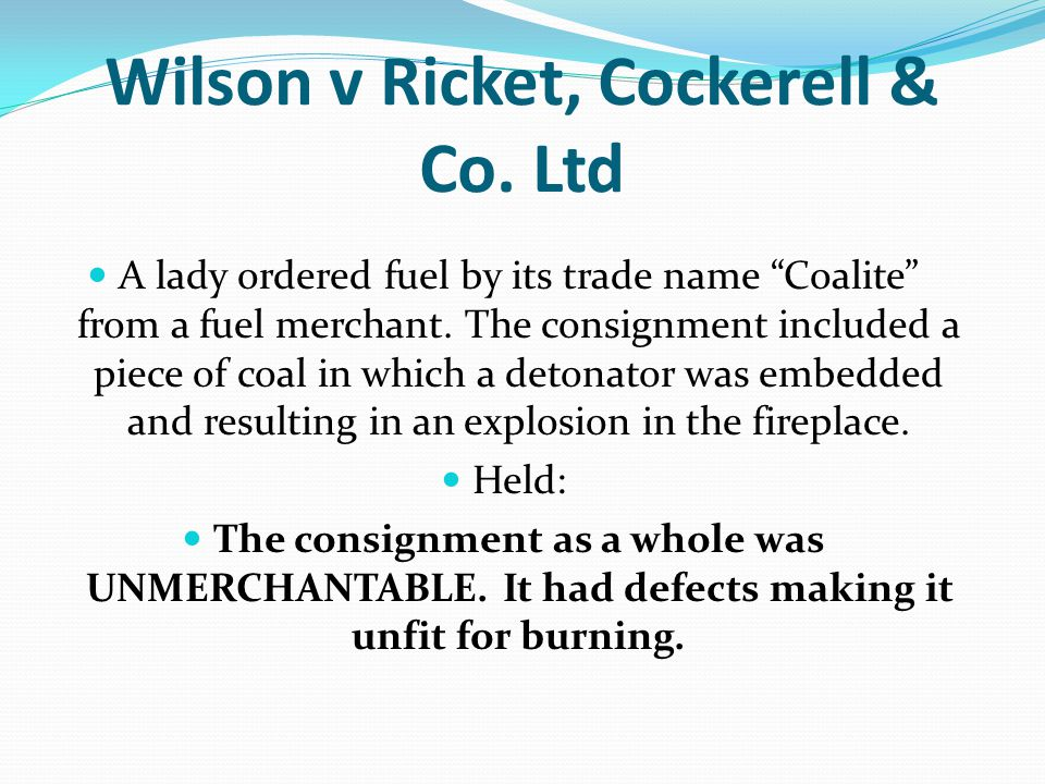 Wilson v Ricket, Cockerell & Co. Ltd