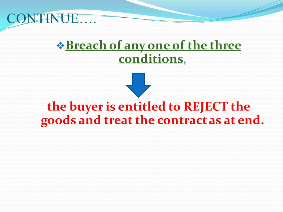 Breach of any one of the three conditions,