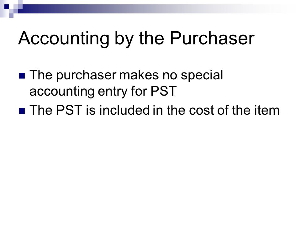 Accounting by the Purchaser