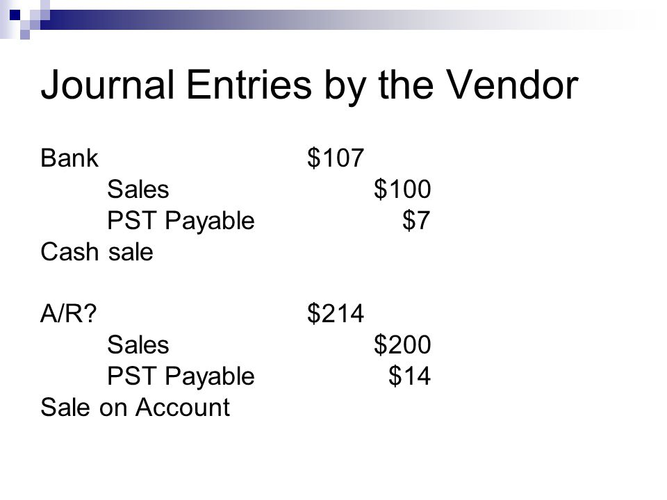 Journal Entries by the Vendor