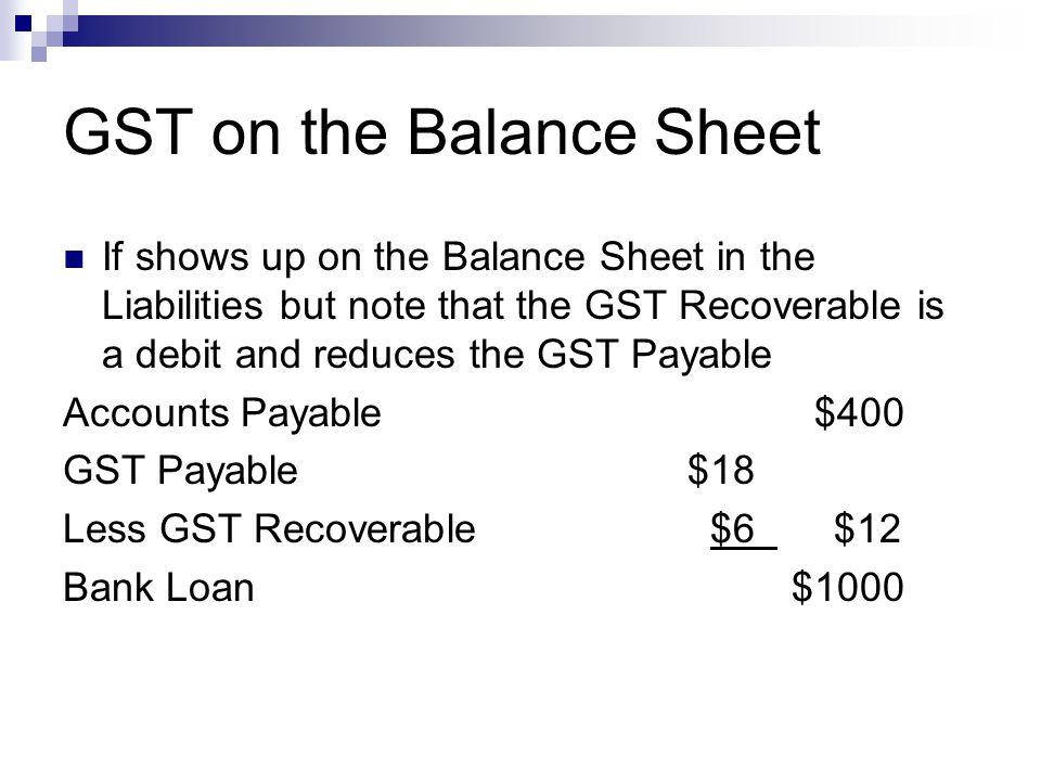 GST on the Balance Sheet