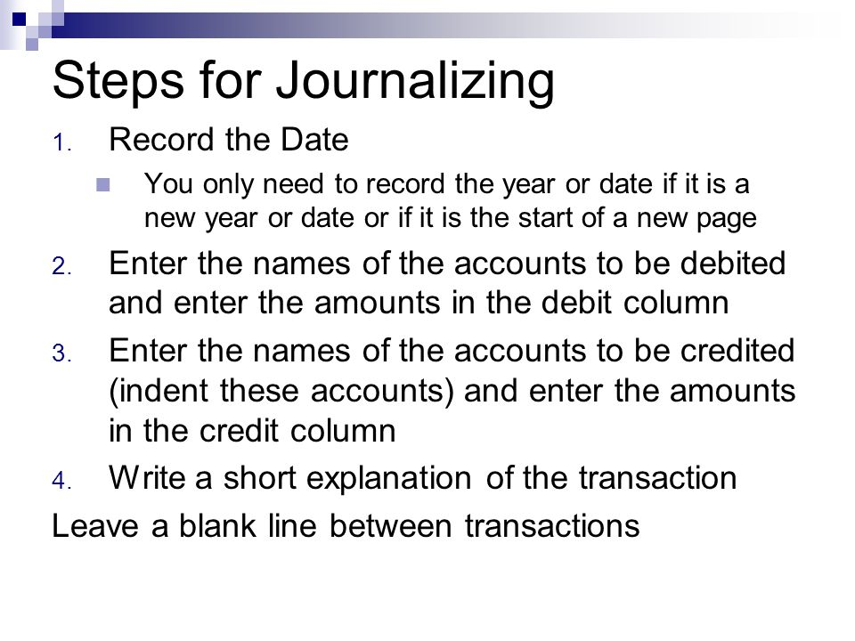 Steps for Journalizing