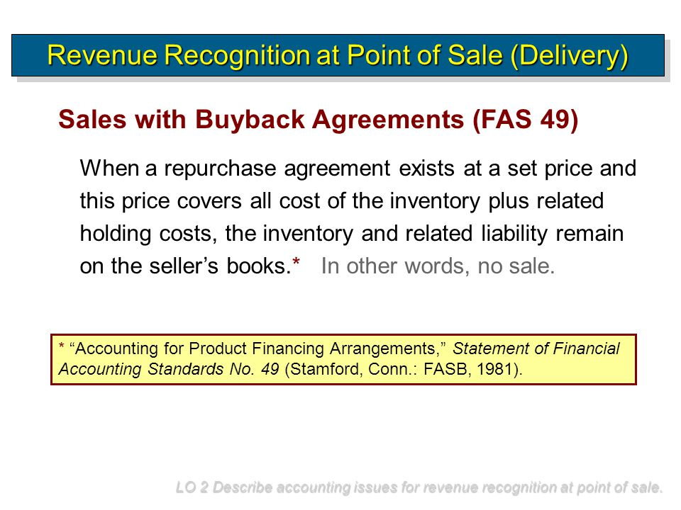 Revenue Recognition at Point of Sale (Delivery)